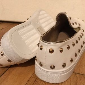 Missguided Shoes - White gold bronze spike studded sneakers